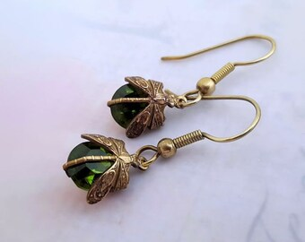 Olivine dragonfly earrings,  insect earrings Art Deco earrings drop earrings dragonfly jewelry Czech vintage glass earrings gift for her