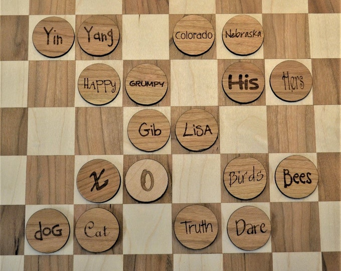 CUSTOM Handcrafted Checkerboard with Personalized Checkers