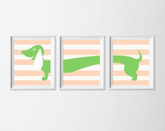 Dog Wall Art , Dachshund Art Printable, Peach Green Nursery Art , Doxie Wall Art, Nursery Girl Set of 3 Wall Art, Wiener Dog Art, Pet Art