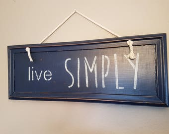 Live Simply Wall Sign in Navy
