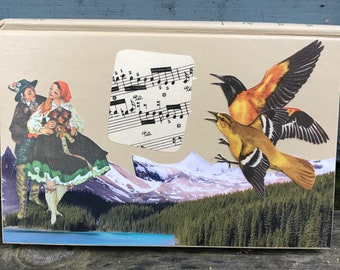 orchestration - an ephemera collage, layered on an old book - 766