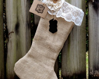 Vintage Shabby Chic Burlap and Lace Christmas Stocking