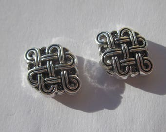 2 beads pattern checked 12 x 16 mm - silver metal (2420)