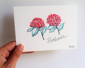 Carte, carte postale, carte aquarelle, aquarelle, hortensia, fleurs, aquarelle fleurs, bretagne, carte fleurs, carte anniversaire,