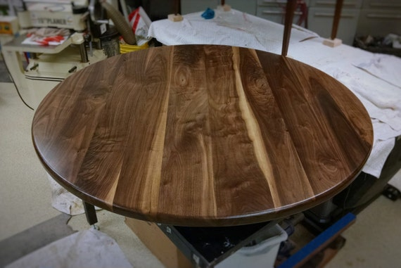 Incroyable Round Walnut Table Top Solid Black Walnut Wood // Breakfast