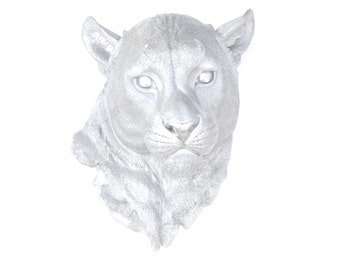 FAUX TAXIDERMY- Metallic Silver Mountain Lion - Wall Mount - Panther Mount ML10