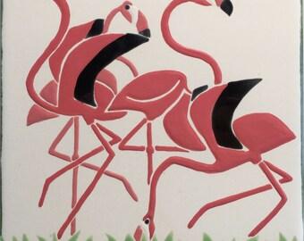 Flamingo tile trivet