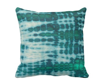 """Acid Teal & Emerald Throw Pillow, 16, 18, 20 or 26"""" Square INDOOR or OUTDOOR Pillows/Covers, Hand-Dyed Effect, Shibori/Mud Cloth"""
