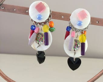 colorful fantasy clip earrings