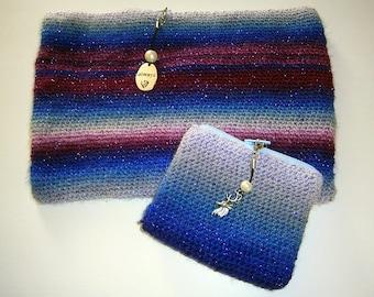 Magisches Taschen-Set mit tollem Farbverlauf, Always, gehäkelt,Hirsch, Anhänger, handmade
