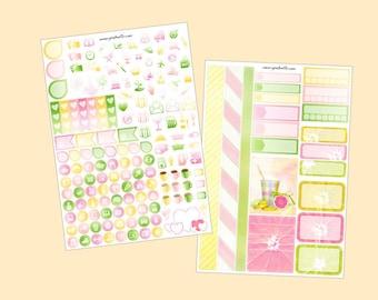 Pink Lemonade - Mini kit planner stickers, 2pages (pour Erin Condren, Plum Paper, Kikki K, Paperchase, Filofax)