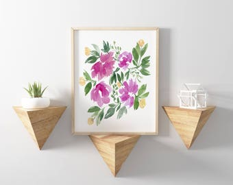 Pink and Yellow Flowers No.1103 Watercolor Print Watercolor Floral Art Watercolor Flower Flowers Wall Art Wall Decor Art Prints Flower Print