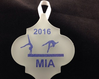 Personalized Gymnastics Frost Tile Christmas Ornament
