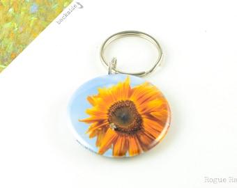 Sunflower Keychain - Sparkly Flower Keychain - Sunflower Glitter Key Chain - Blue Glitter Key accesory - Sunflower -