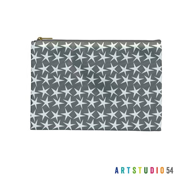 """Stars Grey, White on a Pouch, Make Up, Cosmetic Case Travel Bag - 9"""" X 6"""" -  Large -  Made by artstudio54"""