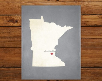 Customized Minnesota State Art Print, State Map, Heart, Silhouette, Aged-Look Personalized Print