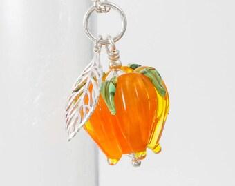 Orange Rose and Leaf Pendant