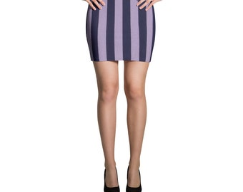 Grape Violet Striped Mini Skirt