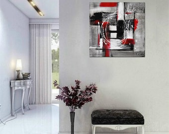 Triptyque Original Abstract Art Painting Minimalist Contemporary Chalky White Red Acrylic Modern Abstract Fine Art by Kathleen Artist Pro
