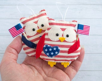 4th of July decor Patriotic decor Owl ornament Owl wall hanging Independence day usa American home decor Christmas gift english teacher gift