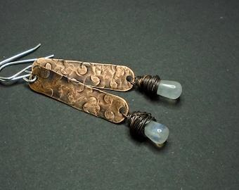 Drop Earrings, Copper, Silver, Rainbow Moonstone