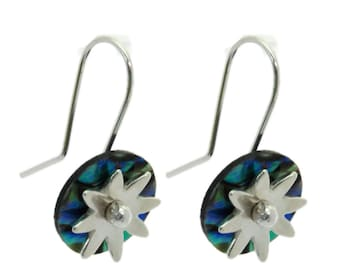 Daisy Disc Paua and Silver Earrings