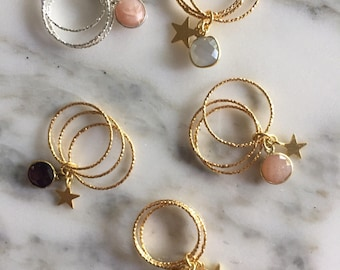 Ring with starlet and hard stone