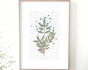 Affiche branche, illustration, art graphique, décoration maison, poster graphique, affiche scandinave, moderne, affiche design, cadeau femme
