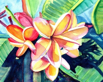kauai plumeria print 8x10 from hawaii tropical flowers kauai fine art prints frangipani art plumerias kauaiartist marionette hawaiian flower