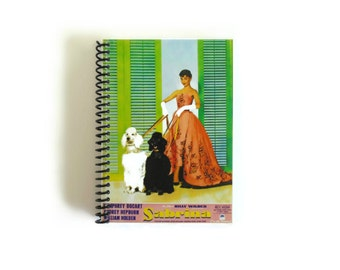 Audrey Hepburn Sabrina Notebook, Spiral Bound Pocket Writing Journal, Blank Sketchbook School A6 Notebook 4x6 Inches, Gifts for Her Under 20