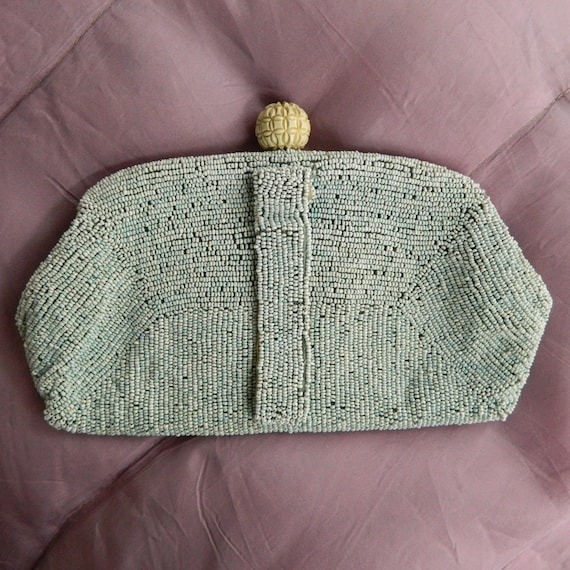 Vintage White Seed Bead Clutch with Fancy Orb Clasp