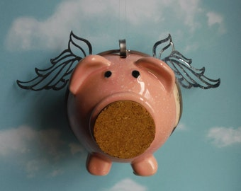 Flying Pig Up Cycled Piggy Bank with Storage