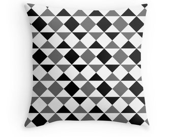 Gray Pillow, Geometric Gray Pillow, Gray Black White Pillow, Gray Bedding, Gray Decorative Pillow, Gray Toss Pillow, Gray Geometric Bedding