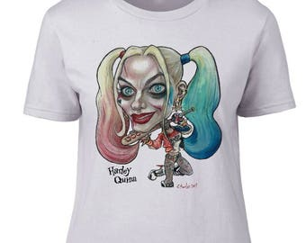 Margot Robbie as Harley Quinn Caricature on Ladies Top.