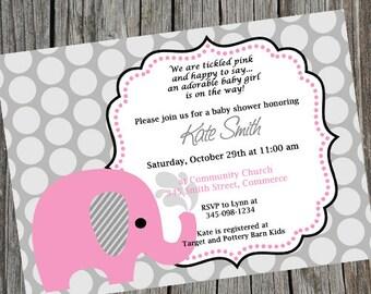 Elephant Invitation, Pink Elephant Invite, Elephant Baby Shower, Baby Shower Invitation, Pink Elephant Baby Shower, Birthday, Digital Invite