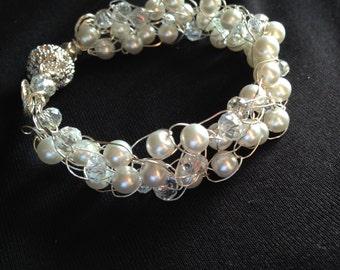 White Ice Wire Crochet Bracelet