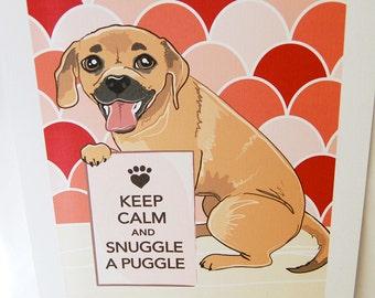 Keep Calm Puggle - 7x9 Eco-friendly Print