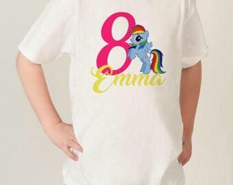 My Little Pony Rainbow Dash Birthday Shirt, MLP Shirt, Custom MLP shirt, Birthday shirt, MLP birthday, Personalized My little pony shirt