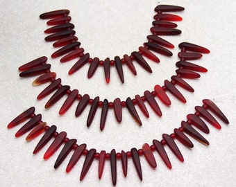 Ruby Daggers- recycled sea glass beads
