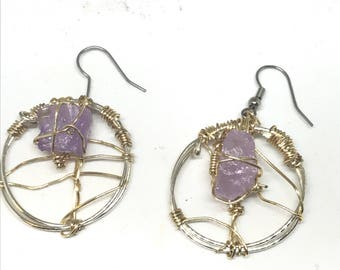 Purity Wire Wrapped amethyst womens hook hoops