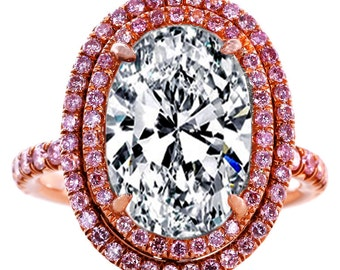 3.10 Total Carat Weight Oval Diamond Engagement Ring Double Halo Pink Diamonds in Rose Gold