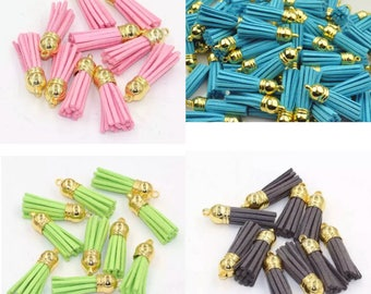 Suede leather tassels with gold tone end connector, multiple colours available