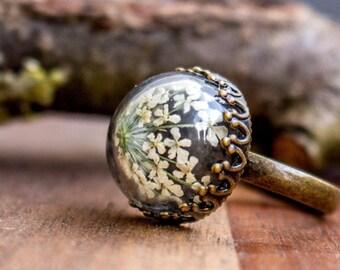 Anillo flor, anillo de deseo, bronce anillo con flores secas real, día de la madre, real secado anillos, flor, flor, /Echte blumen