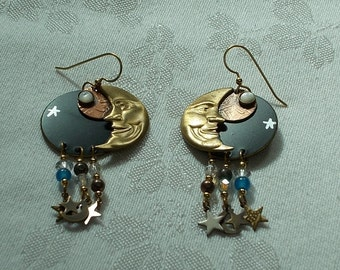 Moon  and Stars Earrings.  (841)