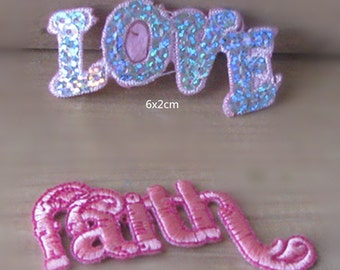 Wholesale Lot 12pcs  Love Faith  embroidered iron on patch