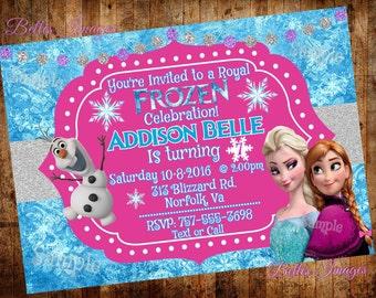 Frozen Birthday Invitation, Frozen Party Invites, Princess Birthday Party, Elsa, Anna, Olaf, Digital File
