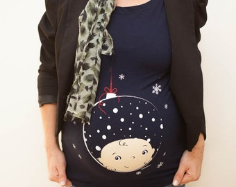 Christmas Maternity shirt, Christmas gift idea ,maternity tshirt, pregnancy shirt, maternity t-shirt, peek-a-boo baby, Christmas bauble top