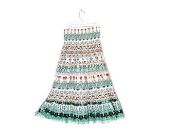 HIGH WAISTED SKIRT / floral skirt floral print cotton skirt 1950s 50s inspired full skirt midi skirt festival skirt boho tropical summer