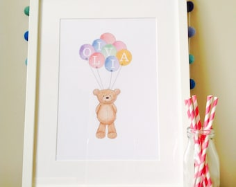 Large framed art teddy bear art picture print customised with your child's name bunch of balloons A4