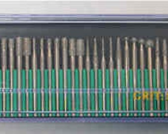 30 piece diamond drill and burr set. 600 grit size.